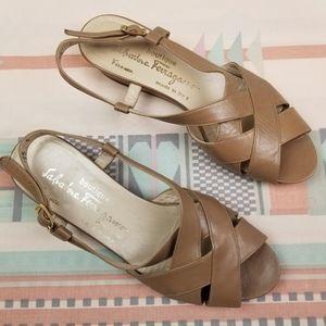 Vintage Ferragamo Beige Strappy Leather Sandals